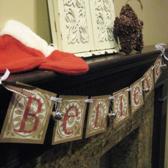 Christmas Decoration BELIEVE Garland Banner Sign Silver Jingle Bells
