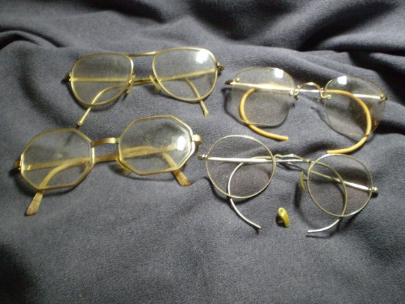 4 Old Eyeglasses Heavy Octagon Rimless Very Ornate Metal