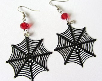 Red Spider Web Crystal Earrings