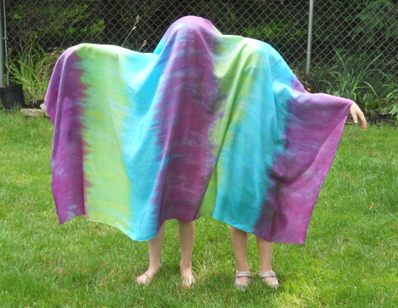 Big striped Play Silk, 44x72 inches, Waldorf, turquoise, green purple, scarf, sarong, veil