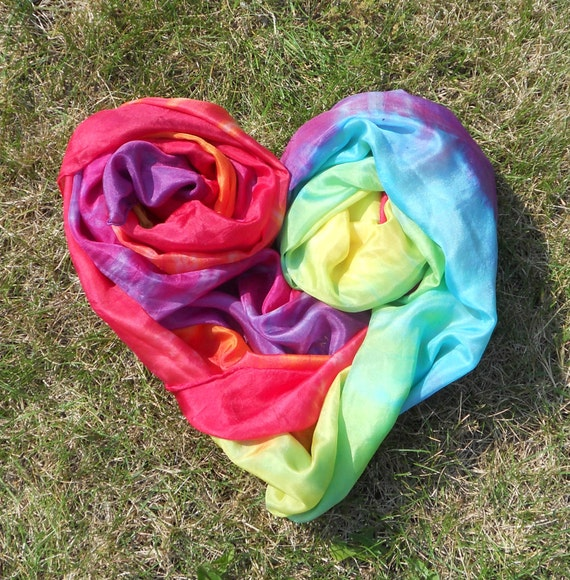 Big Rainbow Play Silk, 45-108 inches, Waldorf, scarf, sarong, Play stand, veil