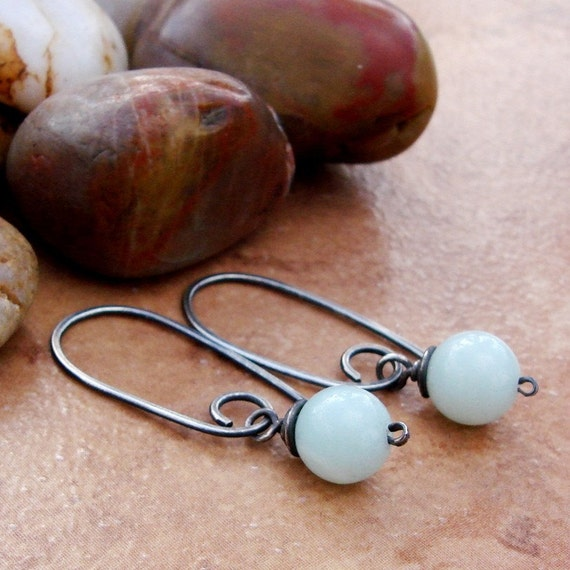 BLUE SKYS - HANDMADE STERLING SILVER EARRINGS WITH PALE BLUE AMAZONITE BEADS