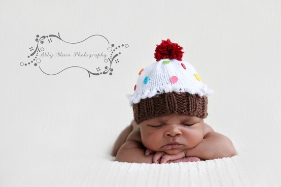 Baby- Made to Order...Hand-Knit Cupcake HAT....with sprinkles