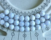 Blue lace agate semi precious stone beads