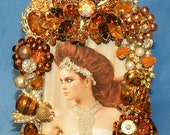 Shades of Autumn Jeweled Rhinestone Picture Frame OOAK