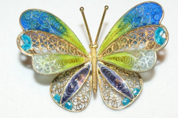 RESERVED for Shelle ColorBazaar RESERVED Beautiful Antique Sterling Silver & Enamel Vermeil Filigree Butterfly Brooch