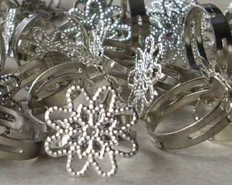 14 flower Trays  Adjustable silver tone Pad blank Ring Base