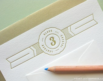 letterpress third anniversary card