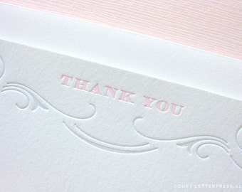 letterpress flourish thank you cards