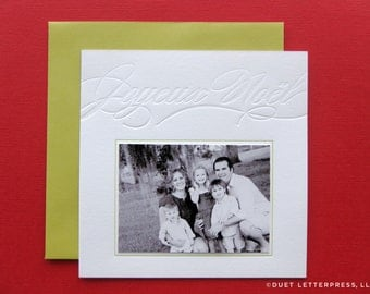 letterpress joyeux noël photo cards
