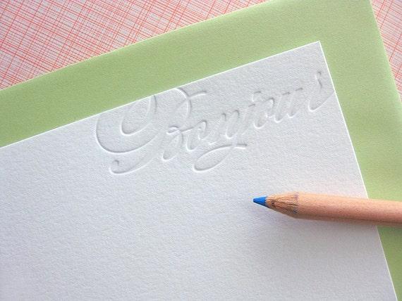 letterpress bonjour note cards
