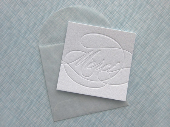 letterpress merci tags with envelopes