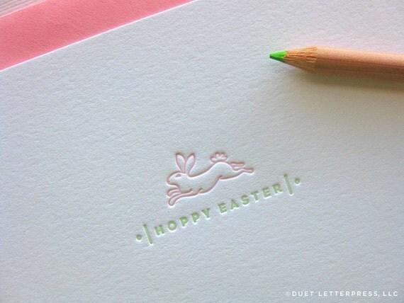 letterpress hoppy easter card
