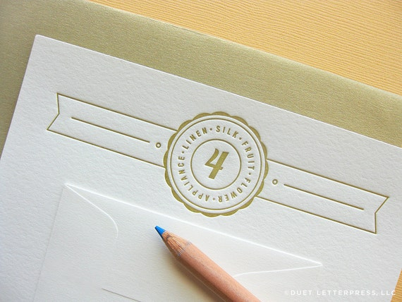 letterpress fourth anniversary card