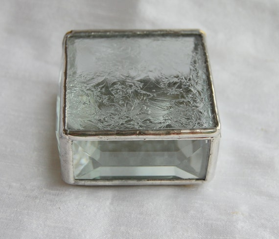 Stained Glass Ring Box Clear Glue Chip 2x2x1