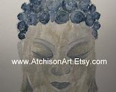 Stone Buddha Original Watercolor Painting