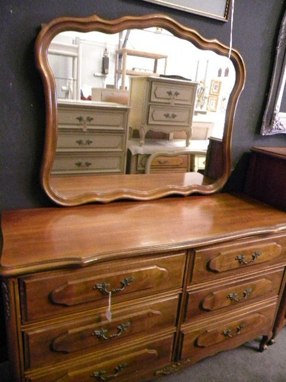 Vintage French Style Double Dresser and Mirror