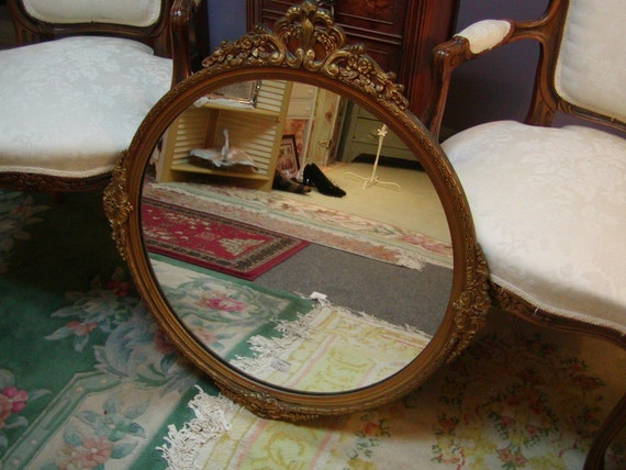 Vintage Round Gold Ornate Mirror By Onlinechic On Etsy