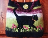 Black cat  green,burgundy,felted tote purse FREE SHIPPING