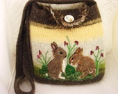 Felted purse tote: Bunnies brown, yellow