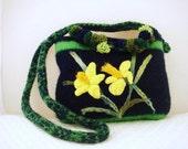 Felted Purse, Felted Handbag, Daffodils