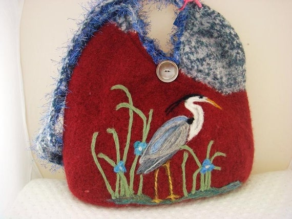 SALE/felted purse, felted handbag,Great blue heron, heron art