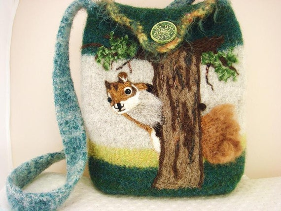 Felted Purse Handbag: Squirrel in a Tree green, natural, tote
