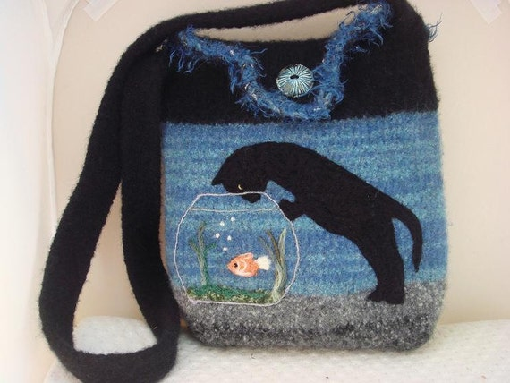 Felted Tote Purse: Black Cat and a Fishbowl  FREE SHIPPING USA