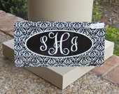 Black and White Damask Aluminum Car Tag Monogrammed or Name