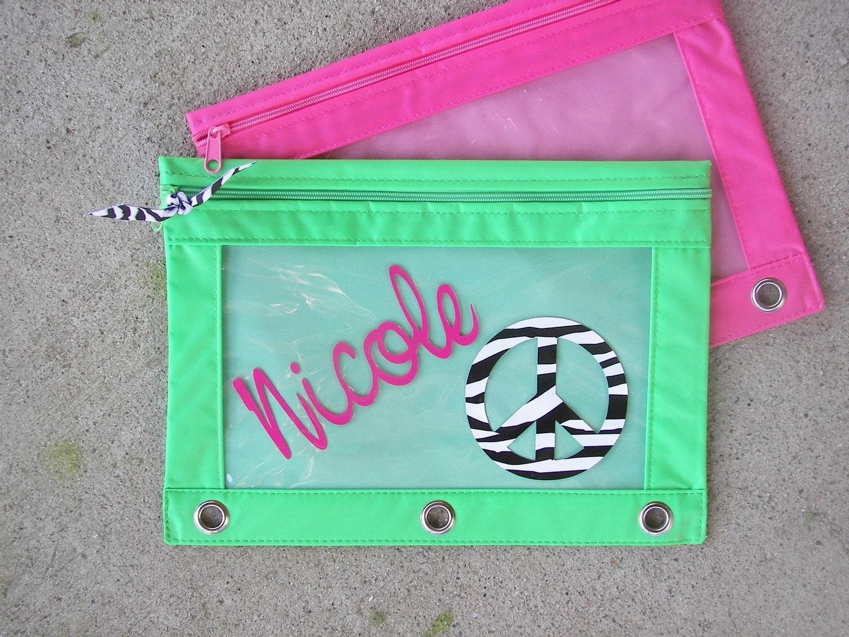 Personalized Pencil Pouch Case Zebra Peace Sign