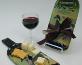 Eco Friendly Wedding Melted Bottle Cheese Platter Candoni Pinot Noir  Recycled Glass