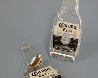 Corona Melted Bottle Spoon Rest / Wall Hanging -- Upcycled Glass Flattened Bottle