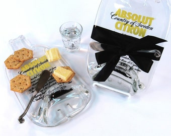Absolut Citron Melted Bottle Cheese Plate, Recycled Glass Bottle Cheese Tray, Black and Gold, Serving Dish, Kiln Fired Glass Bottle