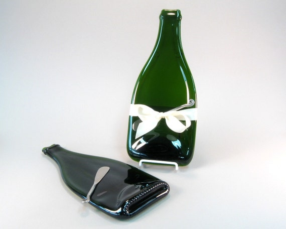 Melted  Champagne Bottle Cheese Tray Repurposed Glass by Mitchell Glassworks