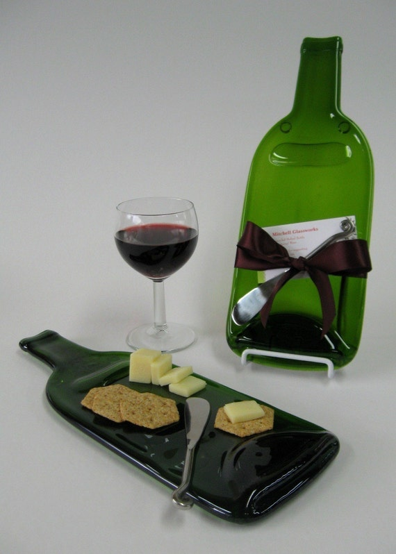 Melted wine bottle cheese plate with plum ribbon upcycled - How do you melt glass bottles ...