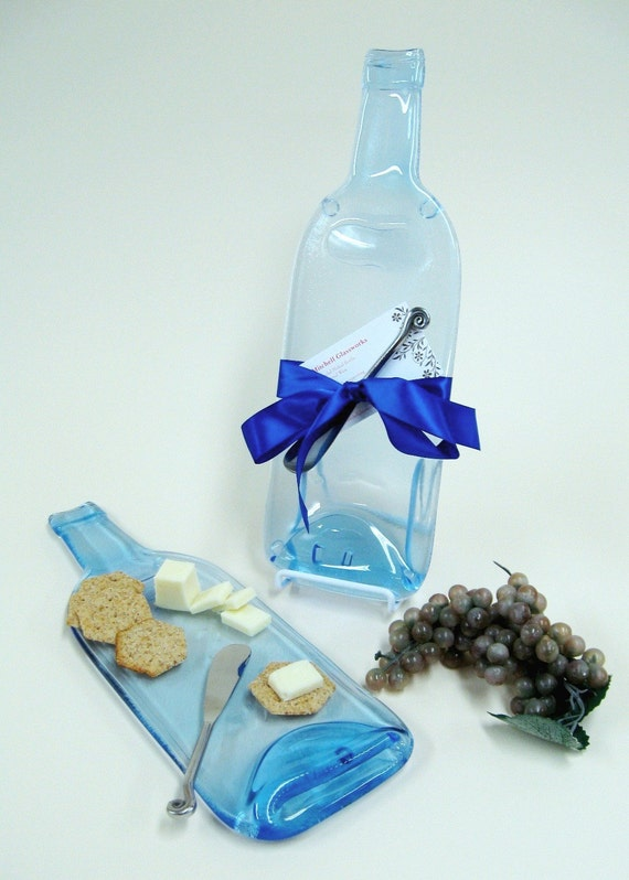 Royal Clear Melted Wine Bottle Cheese Tray - Upcycled / Recycled Glass