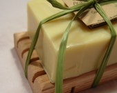 Handmade wooden soap dish with soap