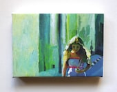 City Streets / Tiny canvas print -  Portrait drawing - ART PRINT
