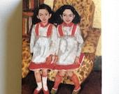 Twin / Tiny canvas print - Folk art print