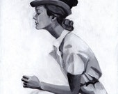 Vintage lady with hat / Original acrylic painting