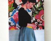 Rimma / Tiny canvas print - Folk art painting PRINT -Portrait painting -Print of Original acrylic painting