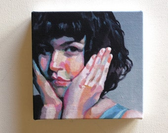 Jenny / Tiny canvas print -Portrait painting -Print of Original acrylic painting