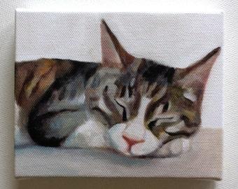 Cat print / Tiny canvas print -  -Animal Painting- Pets- art print - wall hanging