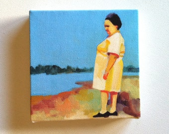 Catch each moment / Tiny canvas print / Print of Original acrylic painting-Digital print -mounted print - wall hanging