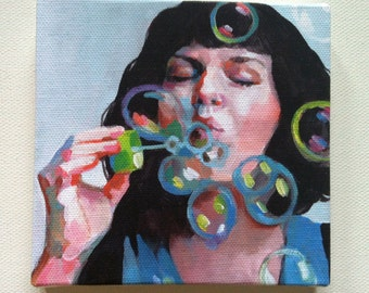 Jenny / Tiny canvas print-- Portrait painting -Print of Original acrylic painting-Digital print -mounted print - wall hanging