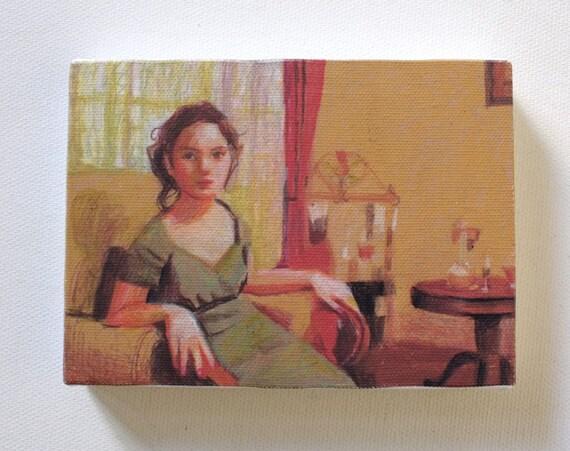 Victorian Girl / Tiny canvas print -WOMAN ART PRINT- canvas wall hanging art