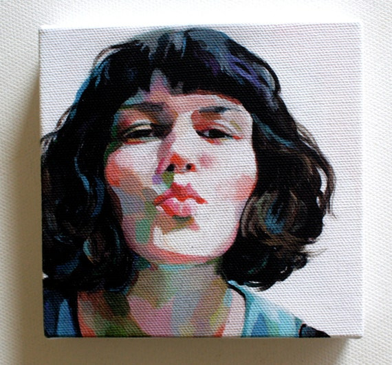 Jenny / Tiny canvas print -Portrait print painting -Print of Original acrylic painting-mounted print