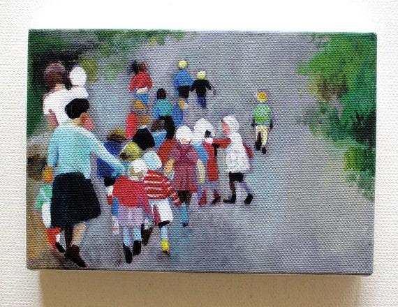 Kindergarten / Tiny canvas print - children , kids, child print , wall art-tour -education -nature -adults and children-  wall hanging