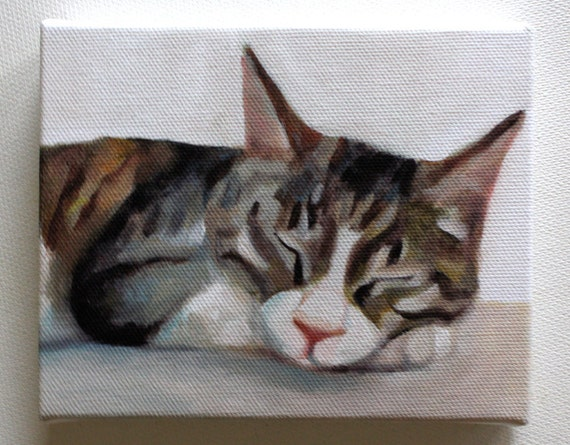 Cat print / Tiny canvas print -  -Animal Painting- Pets- art print - wall hanging