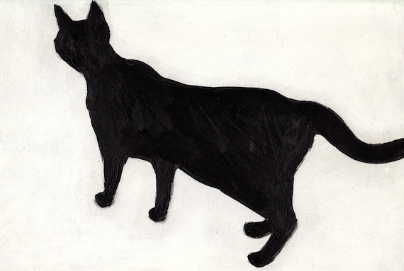Black and white cat / Original acrylic painting
